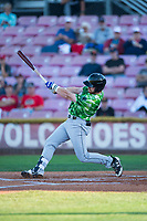 Eugene Emeralds designated hitter Luke Reynolds (4) follows through on his swing during a Northwest League game against the Salem-Keizer Volcanoes at Volcanoes Stadium on August 31, 2018 in Keizer, Oregon. The Eugene Emeralds defeated the Salem-Keizer Volcanoes by a score of 7-3. (Zachary Lucy/Four Seam Images)