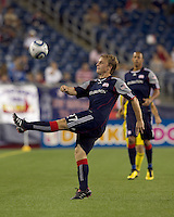 New England Revolution midfielder Seth Sinovic (27) vollies ball downfield. The New England Revolution tied Columbus Crew, 2-2, at Gillette Stadium on September 25, 2010.