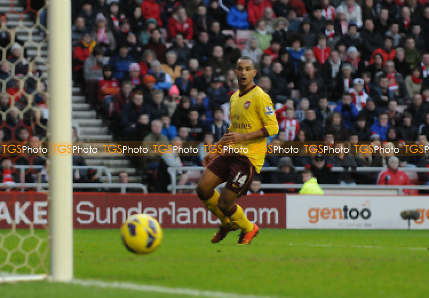 Arsenal's Theo Walcott hits thepost in the second half - Sunderland vs Arsenal - Barclays Premier League Football at The Stadium of Light, Sunderland, Tyne & Wear - 09/02/13 - MANDATORY CREDIT: Steven White/TGSPHOTO - Self billing applies where appropriate - 0845 094 6026 - contact@tgsphoto.co.uk - NO UNPAID USE.