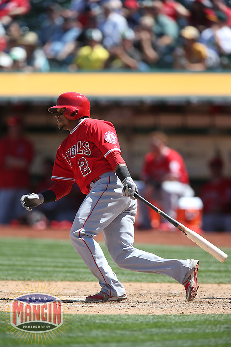 OAKLAND, CA - APRIL 30:  Erick Aybar #2 of the Los Angeles Angels bats against the Oakland Athletics during the game at O.co Coliseum on Thursday, April 30, 2015 in Oakland, California. Photo by Brad Mangin
