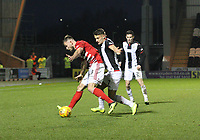 Kyle Magennis pressuring Scott McMann in the St Mirren v Hamilton Academical Scottish Professional Football League Ladbrokes Premiership match played at the Simple Digital Arena, Paisley on 1.12.18.