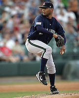 New Orleans Zephyrs Pitcher Adam Bostick during the 2007 Pacific Coast League Season. Photo by Andrew Woolley/ Four Seam Images.