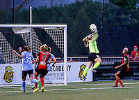 Rochester, NY - May 21, 2016: Sky Blue FC goal keeper Stanley Caroline (18) during a National Women's Soccer League (NWSL) match at Sahlen's Stadium. The Western New York Flash go on to win 5-2.