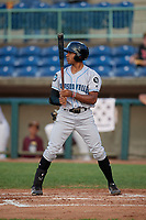 Hudson Valley Renegades Garrett Hiott (4) at bat during a NY-Penn League game against the Mahoning Valley Scrappers on July 15, 2019 at Eastwood Field in Niles, Ohio.  Mahoning Valley defeated Hudson Valley 6-5.  (Mike Janes/Four Seam Images)