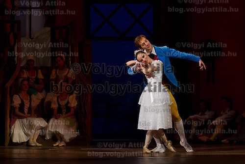 Dancers Adrienn Pap (left) as Lise and Zoltan Olah (right) as Colas in the dance piece La Fille Mal Gardee or The Wayward Daughter Choreographed by Sir Frederick Ashton presented by the Hungarian National Ballet Company in Hungary State Opera House,  Budapest, Hungary, Tuesday, 23. November 2010. ATTILA VOLGYI