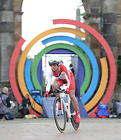 England's Emma Pooley, who eventually went on to finish second in the time trial, set off from the start line<br /> <br /> Photographer Chris Vaughan/CameraSport<br /> <br /> 20th Commonwealth Games - Day 8 - Thursday 31st July 2014 - Cycling - time trial - Glasgow - UK<br /> <br /> © CameraSport - 43 Linden Ave. Countesthorpe. Leicester. England. LE8 5PG - Tel: +44 (0) 116 277 4147 - admin@camerasport.com - www.camerasport.com