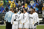 13 December 2009: Akron players huddle before the game. The University of Akron Zips played the University of Virginia Cavaliers at WakeMed Soccer Stadium in Cary, North Carolina in the NCAA Division I Men's College Cup Championship game.