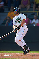 Clinton LumberKings catcher Adam Martin (27) hits a home run during a game against the Great Lakes Loons on August 16, 2015 at Ashford University Field in Clinton, Iowa.  Great Lakes defeated Clinton 3-2.  (Mike Janes/Four Seam Images)