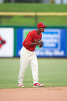 Clearwater Threshers shortstop Malquin Canelo (6) during a game against the Lakeland Flying Tigers on August 5, 2016 at Bright House Field in Clearwater, Florida.  Clearwater defeated Lakeland 3-2.  (Mike Janes/Four Seam Images)
