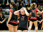 NAUGATUCK, CT-111617JS13- Cheshire's Karly Pedbereznak (35) reacts to loosing a point in their 3-0 loss to Amity in the Class LL semi finals Wednesday at Naugatuck High School. <br /> Jim Shannon Republican-American