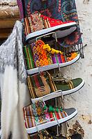 Peru, Cusco.  Tennis Shoes using Traditional Peruvian Designs.