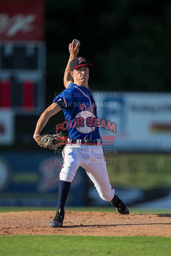 Danville Braves starting pitcher Jaret Hellinger (11) in action against the Kingsport Mets at American Legion Post 325 Field on July 9, 2016 in Danville, Virginia.  The Mets defeated the Braves 10-8.  (Brian Westerholt/Four Seam Images)