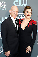 Patrick Stewart and singer Sunny Ozell attend the 23rd Annual Critics' Choice Awards at Barker Hangar in Santa Monica, Los Angeles, USA, on 11 January 2018. - NO WIRE SERVICE - Photo: Hubert Boesl/dpa /MediaPunch ***FOR USA ONLY***