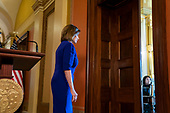 Democratic Speaker of the House from California Nancy Pelosi departs after announcing the House will begin a formal impeachment inquiry into US President Donald J. Trump in the US Capitol in Washington, DC, USA, 24 September 2019. Speaker Pelosi faced increased pressure to begin an impeachment inquiry, with more and more democratic lawmakers saying they favor the move after whistleblower accusations against President Trump and his dealings with Ukraine.<br /> Credit: Jim LoScalzo / Pool via CNP