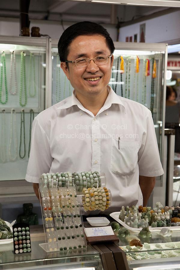Myanmar, Burma, Yangon.  Jade Jewelry Vendor, Scott's Market.