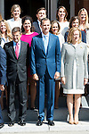 King Felipe VI of Spain pose with the latest developments of notaries and registrars of property, mercantile and movable assets during royal audiences at Zarzuela Palace in Madrid, September 03, 2015. <br /> (ALTERPHOTOS/BorjaB.Hojas)