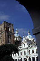 Spanish colonial buildings and the new cathedral or Catedral de la Inmaculada Concepcion in Cuenca, Ecuador