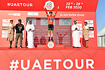 Race leader Adam Yates (GBR) Mitchelton-Scott retains the Red Jersey atop Jebel Hafeet at the end of Stage 5 the Al Ain Water Stage of the UAE Tour 2020 running 162km from Al Ain to Jebel Hafeet, Dubai. 27th February 2020.<br /> Picture: LaPresse/Massimo Paolone | Cyclefile<br /> <br /> All photos usage must carry mandatory copyright credit (© Cyclefile | LaPresse/Massimo Paolone)