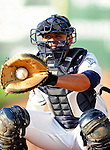 18 June 2010: Vermont Lake Monsters catcher Wilfri Pena warms up his pitcher prior to facing the Lowell Spinners at Centennial Field in Burlington, Vermont. The Lake Monsters defeated the Spinners 9-4 in the NY Penn League season home opener. Mandatory Credit: Ed Wolfstein Photo