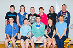 Kevin Hudson Moyvane, Máire Bradley, Daniel McCarthy, Emer Horgan, Noelle O'Mahony all Kingdom. Back row: Jarvis Beazley, Rachel o'Connor, Daniel O'Connor, Mary Bradley all Kingdom Aine Knightly Anauscaul and Dan Carter Moyvane who played in the County knockout badminton tournament in Killarney Sports Centre on Sunday