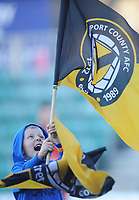 A young fan waves a Newport County flag before kickoff<br /> <br /> Photographer Kevin Barnes/CameraSport<br /> <br /> The EFL Sky Bet League Two - Newport County v Colchester United - Saturday 17th November 2018 - Rodney Parade - Newport<br /> <br /> World Copyright © 2018 CameraSport. All rights reserved. 43 Linden Ave. Countesthorpe. Leicester. England. LE8 5PG - Tel: +44 (0) 116 277 4147 - admin@camerasport.com - www.camerasport.com