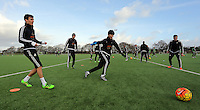 SWANSEA, WALES - JANUARY 28: (L-R) Jack Cork, Gylfi Sigurdsson,  Ki Sung Yueng and Ryan Blair in action during the Swansea City Training Session on January 28, 2016 in Swansea, Wales.