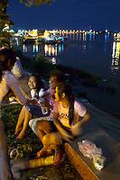 Phnom Penh, Cambodia. Night Market next to Tonle Sap.