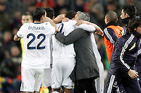 Real Madrid's coach Jose Mourinho (r) celebrates goal with Raphael Varane during Copa del Rey - King's Cup semifinal second match.February 26,2013. (ALTERPHOTOS/Acero) /Nortephoto