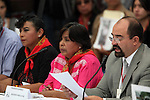 Trinidad Ramirez (C), of the San Salvador Atenco's Front of Peoples in Defense of Land , listens to Institutional Revolutionary Party (PRI) candidate Enrique Pena Nieto during the dialogue with members of the National Movement for Peace with Justice and Dignity (MPJD) in the Alcazar del Castillo de Chapultepec venue in Mexico City, May 28. 2012. Emilio Alvarez Icaza appears at right. Sicilia and the mothers of disappeared people demanded peace to Mexico and the punishment of the authorities linked to the organized crime in Mexico. Photo by Heriberto Rodriguez