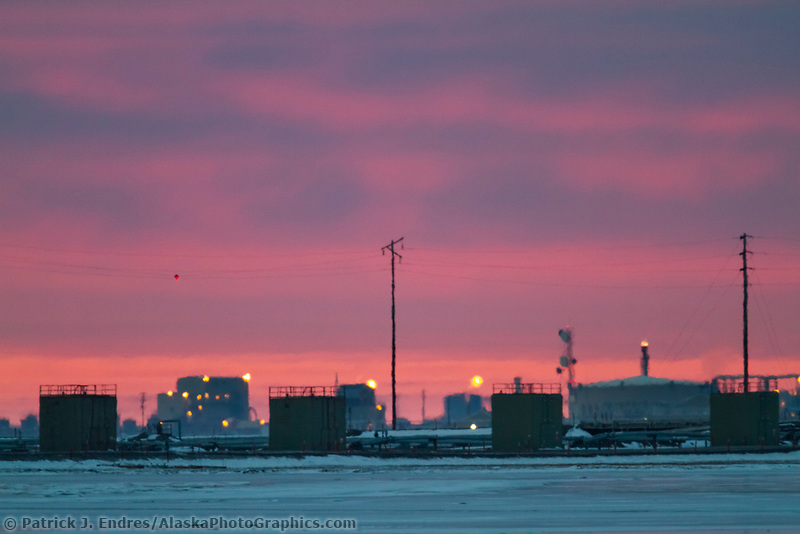 Sunset at Prudhoe Bay, also known as Deadhorse, on the north coast of Alaska, Beaufort Sea.