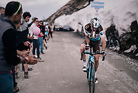Hubert Dupont (FRA/AG2R-La Mondiale) catching a bidon up the gravel roads of the Colle delle Finestre <br /> <br /> stage 19: Venaria Reale - Bardonecchia (184km)<br /> 101th Giro d'Italia 2018