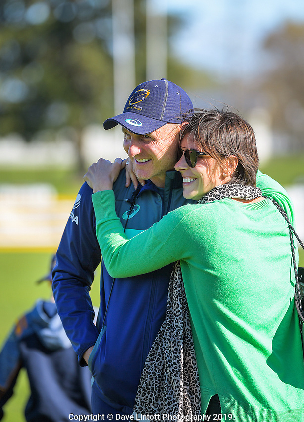 Australia head coach Peter Hewat is congratulated by wife Alicia after winning the rugby union match between New Zealand Schools and Australia Under-18s at St Paul's Collegiate in Hamilton, New Zealand on Friday, 4 October 2019. Photo: Dave Lintott / lintottphoto.co.nz