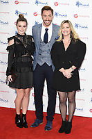 Lauren McQueen, Ross Adams &amp; Alexandra Fletcher at the Virgin Money Giving Mind Media Awards at the Odeon Leicester Square, London, UK. <br /> 13 November  2017<br /> Picture: Steve Vas/Featureflash/SilverHub 0208 004 5359 sales@silverhubmedia.com