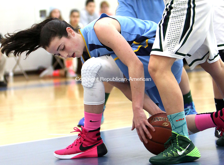 MIDDLEBURY CT. 16 January 2015-011616SV20-#23 Gabriela Dunn of Westover School grabs the loose ball against Chase Collegiate School during basketball action in Middlebury Saturday. <br /> Steven Valenti Republican-American