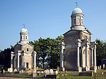 Mistley Towers are all that remain of the neoclassical  St. Mary the Virgin church designed by Robert Adam in the 1780s, Mistley, Essex, England