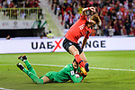Goalkeeper Sayed Shubbar Alawi of Bahrain (botom) reaches for the ball after an attempt at goal by Hwang Uijo of South Korea (top) during the AFC Asian Cup UAE 2019 Round of 16 match between South Korea (KOR) and Bahrain (BHR) at Rashid Stadium on 22 January 2019 in Dubai, United Arab Emirates. Photo by Marcio Rodrigo Machado / Power Sport Images