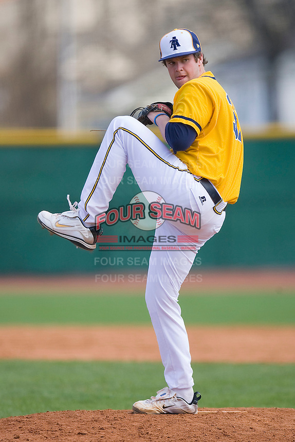 Relief pitcher Jonathan Smith #31 of the North Carolina A&T Aggies in action against the Charlotte 49ers at War Memorial Stadium March 23, 2010, in Greensboro, North Carolina.  Photo by Brian Westerholt / Four Seam Images