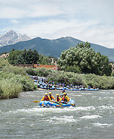 River rafting in the Arkansas River in Colorado, Thursday, July 9, 2015. Rafting makes the Arkansas River one of the most used water sources in Colorado for recreation.<br /> <br /> Photo by Matt Nager