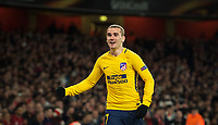 Antoine Griezmann of Atletico Madrid celebrates scoring a late goal during the UEFA Europa League Semi Final 1st leg match between Arsenal and Atletico Madrid at the Emirates Stadium, London, England on 26 April 2018. Photo by Andy Aleksiejczuk / PRiME Media Images