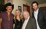 """Randy Jones (Village People), Terri Colombino, Charles Durning (2-time Academy Award, 4-Time Golden Globe, 9-time Emmy winner and nominee) and Austin Peck perform at the table: A Special Talent Reading of the new novel """"The Great Heist"""" by author and filmmaker Kenneth Del Vecchio on November 3, 2008 at the Williams Center, Rutherford, New Jersey. The event is presented by Justice For All Productiona and the Hoboken International Film Mestival and osted by Bergen County Film Commission.   (Photo by Sue Coflin/Max Photos)"""