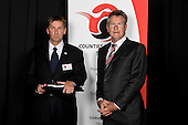 Service to Sport  recipient Paul McPhail with John Walker. Counties Manukau Sport 17th annual Sporting Excellence Awards held at the Telstra Clear Pacific Events Centre, Manukau City, on November 27th 2008.