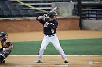 Drew Freedman (5) of the Wake Forest Demon Deacons at bat against the Towson Tigers at Wake Forest Baseball Park on March 1, 2015 in Winston-Salem, North Carolina.  The Demon Deacons defeated the Tigers 15-8.  (Brian Westerholt/Four Seam Images)