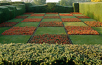 A checkerboard-planted garden is enclosed by frost-covered yew hedges