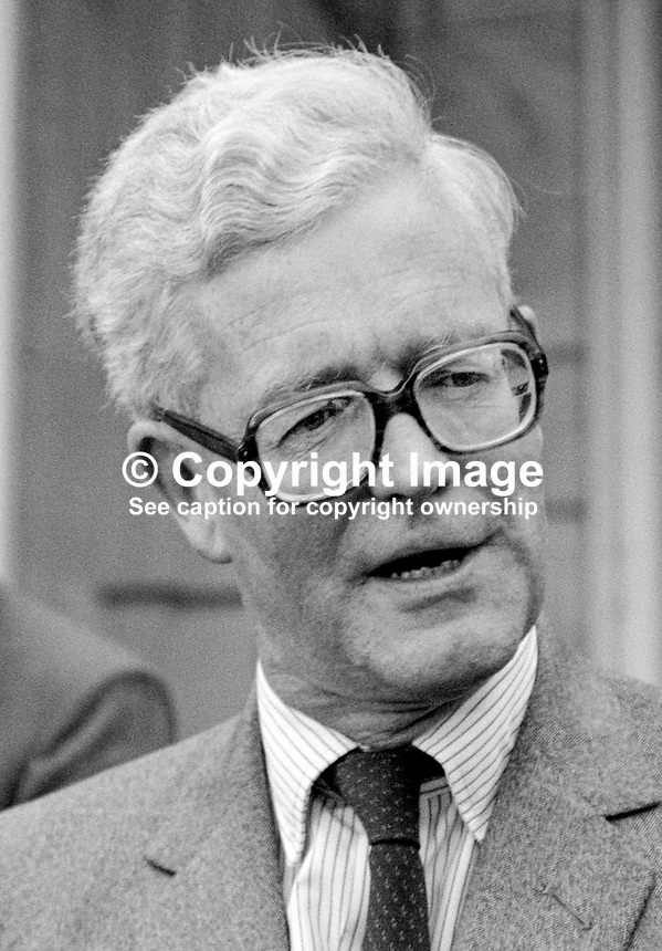 Secretary of State for N Ireland, Douglas Hurd, being interviewed by local journalists following press conference at Stormont Castle, Belfast, N Ireland. 19850413DH8.<br />