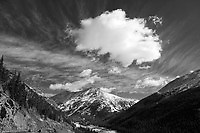 On the Independence Pass road - black and white