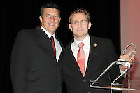 DC United defender Bryan Namoff receiving the Goal of the Year award from DC United Assistant Coach Mark Simpson, he got the award from the diving header vs Colorado on 7/18.   At the 6th Annual DC United Awards Presentation ,at the Atlas Performing Arts Center in Washington DC ,Wednesday October 27, 2009.