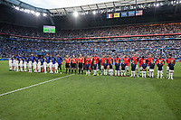 Lyon, France - Saturday June 09, 2018: Starting line ups of the Men's National teams of France and the United States of America during an international friendly match between the men's national teams of the United States (USA) and France (FRA) at Groupama Stadium.