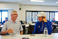 September 10, 2014,Netherlands, Amsterdam, Ziggo Dome, Davis Cup Netherlands-Croatia, Press conference, Igor Sijsling being interviewed bin Robert Misset<br /> Photo: Tennisimages/Henk Koster