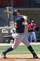 Ryan Royster #22 of the Montgomery Biscuits batting during a game against the Carolina Mudcats on April 18, 2010 in Zebulon, NC.
