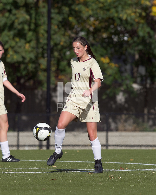 Boston College forward Alaina Beyar (17) traps the ball. Florida State University defeated Boston College, 1-0, at Newton Soccer Field, Newton, MA on October 31, 2010.